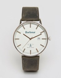 Barbour Whitburn Leather Watch In Black Black