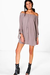 Boohoo Tie Sleeve Off Shoulder Shift Dress Mocha