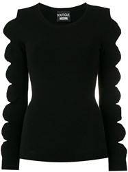 Boutique Moschino Cut Out Bow Jumper Black
