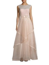 Rickie Freeman For Teri Jon Embellished Tulle Ball Gown Blush Champagne