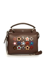 Fendi Dotcom Click Embellished Leather Cross Body Bag Brown Multi