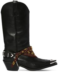 Versace 70Mm Camperos Leather Cowboy Boots Black