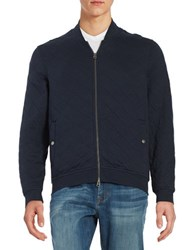 Brooks Brothers Quilted Knit Bomber Jacket Blue