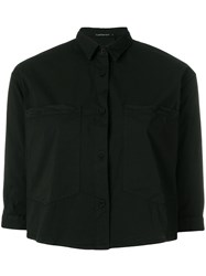 Transit Cropped Button Shirt Black