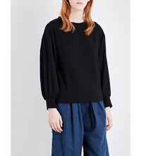 Miharayasuhiro Pleated Panel Jersey Sweatshirt Black