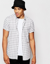 New Look Short Sleeve Shirt In Buffalo Slub Check Palegrey