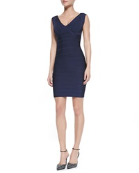 Herve Leger V Neck Low Back Fitted Bandage Dress