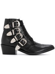 Toga Pulla Multi Strap Cowboy Boots Leather Black