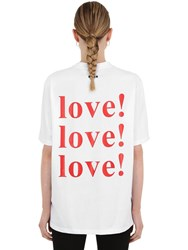Msgm Love Printed Cotton Jersey T Shirt White