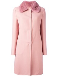 Ermanno Scervino Collar Detail Fitted Coat Pink And Purple