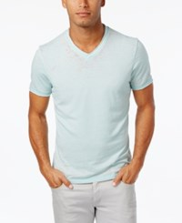 Inc International Concepts Men's Distressed V Neck Cotton T Shirt Only At Macy's Iced Aqua
