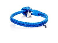 Bottega Veneta Men's Intrecciato Leather Double Band Bracelet Blue