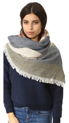 Madewell Colorblocked Blanket Scarf Navy Multi