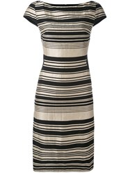 Gareth Pugh Stripe Panel Dress Women Silk Cotton Linen Flax Viscose 40 Black