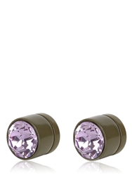 Givenchy Round Crystal Magnetic Earrings Green Pink