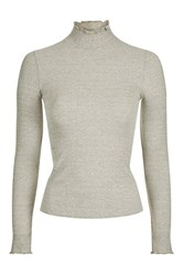 Topshop Petite Long Sleeve Frill Neck Top Cream