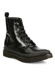 Brunello Cucinelli Monili Trim Patent Leather Lace Up Boots Black