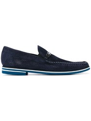Baldinini Perforated Loafers Men Leather Calf Suede Rubber 44 Blue