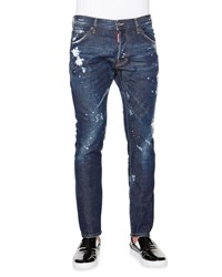 Dsquared Bleached Paint Splatter Denim Jeans Indigo