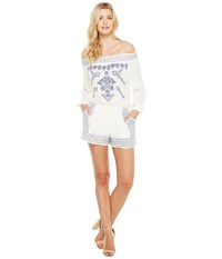 Brigitte Bailey Adalia Long Sleeve Off The Shoulder Embroidered Romper Off White Women's Jumpsuit And Rompers One Piece