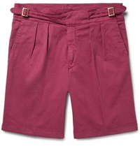 Rubinacci Manny Pleated Stretch Cotton Twill Shorts Pink