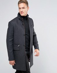 Ted Baker Overcoat With Funnel Neck Grey