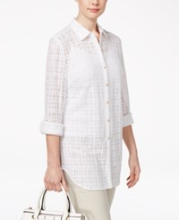 Jm Collection Petite Windowpane Shirt Only At Macy's Bright White