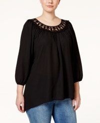 Eyeshadow Plus Size Crochet Trim Scoop Neck Blouse Black