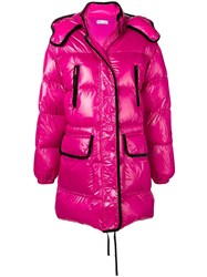 Red Valentino Woman Maxi Hooded Puffer Jkt Pink And Purple