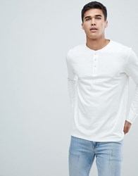 Selected Homme Long Sleeve T Shirt With Henley Neck Bone White