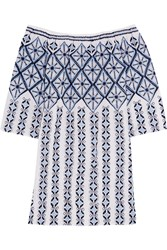 Miguelina Augustina Off The Shoulder Embroidered Cotton Mini Dress Blue