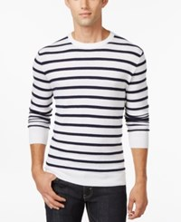 Club Room Texture Stripe Crew Neck Sweater Only At Macy's Bright White