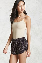 Forever 21 Floral Woven Side Tie Shorts Black Multi