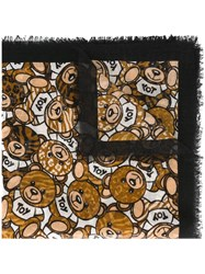 Moschino Animal Print Bear Scarf Black