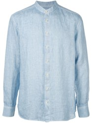 120 Lino Long Sleeved Grandad Shirt Blue