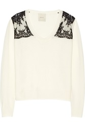 Mason By Michelle Mason Lace Paneled Wool And Cashmere Blend Sweater White