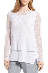 Eileen Fisher Women's Linen Open Knit Ballet Neck Top White