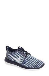 Nike Women's Roshe Two Flyknit Sneaker College Navy White Blue