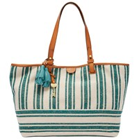 Fossil Rachel Cotton Tote Bag Teal Stripe