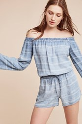 Anthropologie Striped Chambray Off The Shoulder Romper Denim Light