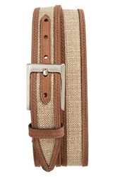 Nordstrom Men's Big And Tall Men's Shop Webster Leather And Linen Belt Beige