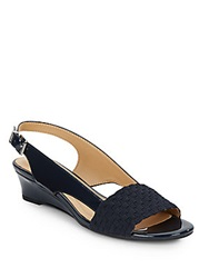 Ellen Tracy Jordan Faux Patent Wedges Navy