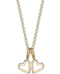 Sarah Chloe Double Heart Charms Pendant Necklace 16 2 Extender Gold Over Silver