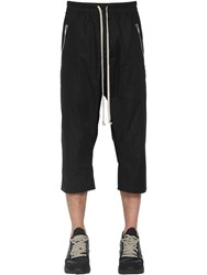 Rick Owens Drawstring Cotton Poplin Cropped Pants Black