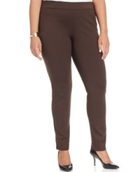 Inc International Concepts Plus Size Ponte Pull On Skinny Pants Only At Macy's Coffee Bean