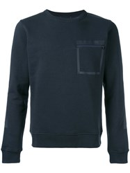 Woolrich Zipped Chest Pocket Sweatshirt Men Cotton Polyester M Blue
