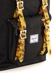 Herschel Black And Leopard Print Strap Backpack