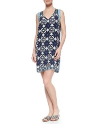 Calypso St. Barth Printed Contrast Trim Loose Dress Navy White