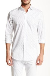 14Th And Union Trim Fit Printed Cutaway Shirt White