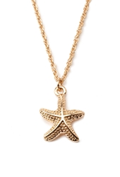 Forever 21 Etched Starfish Charm Necklace Gold